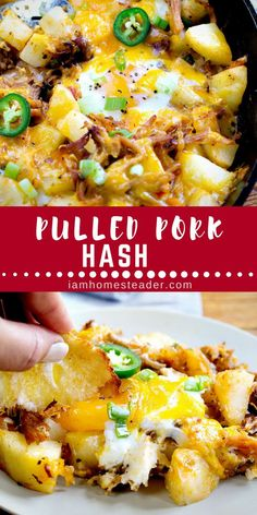 This Pulled Pork Hash is our new favorite breakfast! Packed with flavor its easy to pull together and is something everyone will enjoy! If you enjoy hash you might also like my Brussel Sprout Breakfast Hash. Or maybe even this Country Skillet Breakfast! Pork Hash Recipe, Pork Casserole Recipes, Meat Recipes, Cooking Recipes, Hamburger Casserole, Spinach Recipes, Cookbook Recipes, Cooking Ideas, Salad Recipes
