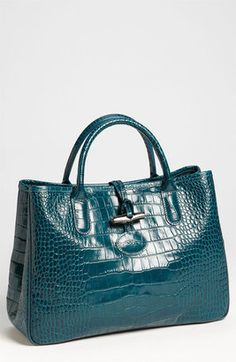 ShopStyle: Longchamp 'Roseau' Croc Embossed Tote