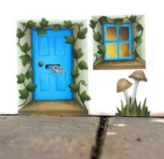 Blue Fairy Door Sticker with Ivy and Mushrooms Mini Mural