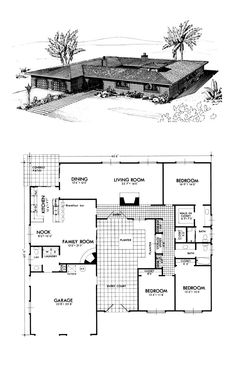 Prairie Style Retro Southwest Style House Plan with 2377 Sq Ft, 3 Bed, 3 Bath - Vintage House Plans, New House Plans, Dream House Plans, Modern House Plans, House Floor Plans, Vintage Houses, Prairie House, Prairie Style Houses, Casa Patio