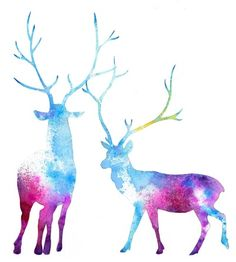 watercolor deer, this is so cute but mahal ang colored!