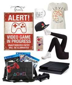 """""""PlayStation Gamer"""" by alyssa-bazinau ❤ liked on Polyvore featuring Hot Topic, Dorothy Perkins, Wolford, Converse, Nintendo and Casetify"""
