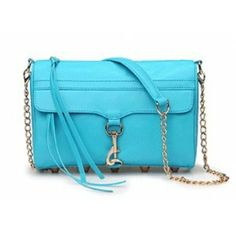 Cheap Rebecca Minkoff Mac Light Blue Clutch Bag With Gold Hardware on Sale