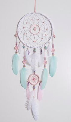 Grande rose menthe Dream Catcher Dreamcatcher Bohème Boho vicié Dreamcatchers…