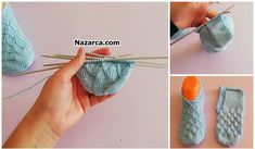 FARKLI PATİK ÖRME AŞAMALARI TOPUKLU TABANLI | Nazarca.com Weaving Patterns, Knitting Socks, Fingerless Gloves, Arm Warmers, Crochet Baby Shoes, Knits, Socks, Trapillo, Dots