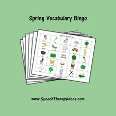 """It's """"Springo"""" time! Add some variety to your spring vocabulary lessons with these spring bingo boards and calling cards. Speech Therapy Games, Therapy Activities, Therapy Ideas, J Sound, Bingo Board, Free Space, Spring Activities, Calling Cards, Picture Cards"""