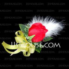 Wedding Flowers - $4.89 - Gorgeous Free-Form Satin/Cotton Boutonniere (123031457) http://jjshouse.com/Gorgeous-Free-Form-Satin-Cotton-Boutonniere-123031457-g31457