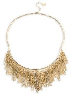 ABS by Allen Schwartz Jewelry Chain and Pave Fringe Frontal Necklace