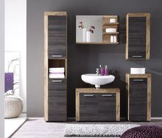 Meuble salle de bain blanc et gris: meuble sous lavabo ...