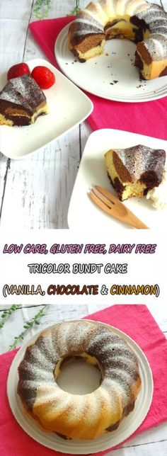 Moist Tricolor Bundt Cake - Low Carb, Keto, Gluten Free, Sugar Free, Dairy Free