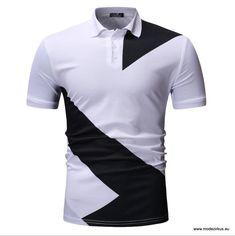 Herren Poloshirts 2019 mit Kontrast Farben Weiß Schwarz a938423892