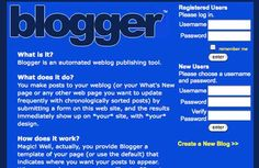 Blogger (1999). How 20 popular websites looked when they launched - Telegraph