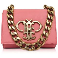 Emilio Pucci Shell Pink Leather Small Shoulder Bag ($1,765) ❤ liked on Polyvore featuring bags, handbags, shoulder bags, pink leather handbag, chain strap shoulder bag, leather purse, mini shoulder bag and long strap purse