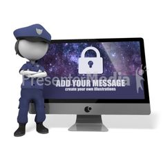 A policewoman stands guard in front of a computer monitor You may customize the message on the monitor using our on-line tools. #powerpoint #clipart #illustrations