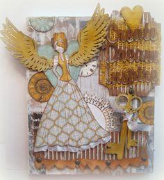 Canvas, Mixed Media Canvas, Prima Julie Nutting Doll, Dream Create Inspire, Original Canvas