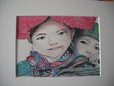 aziatische kinderen - pastel (verkocht)
