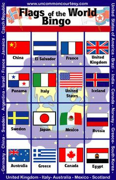 Geography and Travel Bingo Games - UnCommon Courtesy World Cultures, Countries Of The World, International Flags, Cultura General, World Thinking Day, World Geography, World Crafts, Culture Club, Bingo Games