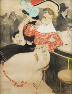 Juan Cardona y Llados (Spanish, 1877 – 1934)    Two Girls at a Bar, N/D    Gouache on black pencil, 45 x 35,5 cm