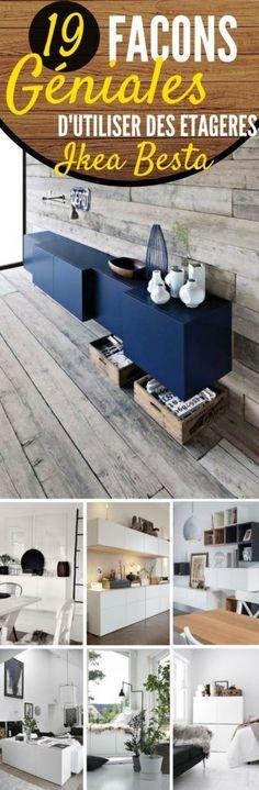 Les meubles Besta d'IKEA, c'est une collection complète de rangement, dans différentes configurations, qui doivent être fixées au mur. Les tiroirs et les portes se ferment silencieusement, grâce à leur fermeture spécifique intégrée. En plus, la simplicité des tiroirs permet de les décorer comme bon vous semble.