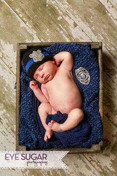 Baby Hats - Police Baby Beanie Hat by Peaces by Cortney https://www.etsy.com/listing/162415481/police-baby-hat-police-officer-baby-hat Photo by Eye Sugar Photography
