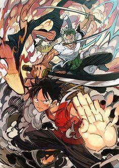 Monkey D Luffy Roronoa Zoro Sanji Vinsmoke Monster Trio Strawhat Pirates Mugiwaras One Piece Anime One Piece, One Piece Comic, One Piece Fan Art, Sanji One Piece, One Piece Drawing, One Piece World, One Piece Figure, Roronoa Zoro, Art Anime
