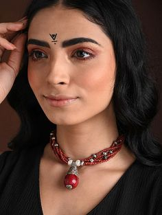 Buy The Stone Age Parampara Elevate your look with spectacular silver-tone stone-beaded jewelry for over-the-top statement Online at Jaypore.com Fashion Jewelry Necklaces, Beaded Jewelry, Shopping Coupons, Backpack Brands, Stone Age, Necklace Online, Pendants, Pendant Necklace, Red