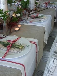 Christmas place setting using red linen dish towels