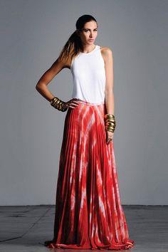 love this skirt with white sleeveless. *Yoana Pleated Skirt on HauteLook