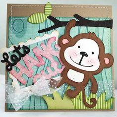 Monkey Cricut card. (Create a Critter)