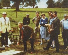 1980 - Diana at a lawn game of Petanque at Althorp