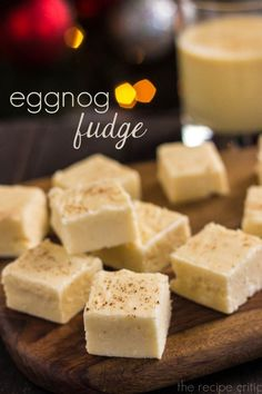 Eggnog Fudge at http://therecipecritic.com  Amazingly creamy and delicious eggnog fudge that is perfect for the holidays!