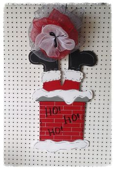 Santa down the chimney door hanger by Furnitureflipalabama on Etsy, $35.00