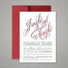 Your Christmas party wont be complete until you send the perfect invitation! Invite your guests to Jingle and Mingle at your next Christmas Soiree with this fun and funky holiday party invitation, personalized with your party details. Christmas Party Menu, Office Christmas, Holiday Parties, Christmas Time, Mistletoe And Wine, Paw Patrol Invitations, Christmas Preparation, Indoor Christmas Decorations, Christmas Party Invitations