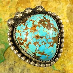 14g CHUNKY Old Pawn Navajo Sterling HIGH DOME #8 Spiderweb Turquoise Ring Sz 7