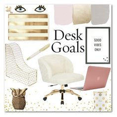 """Desk Goals: Pretty Work-space"" by mizz-miranda-lynn1993 ❤ liked on Polyvore featuring interior, interiors, interior design, home, home decor, interior decorating, Kate Spade, Concepts in Time, AveSix and MikeyLins by Petal Lane"