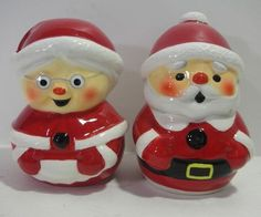 CERAMIC SANTA MRS CLAUS SALT & PEPPER SHAKERS | eBay