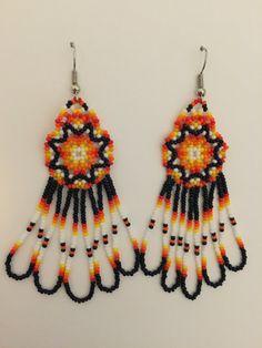 Handmade Native American Beaded Earrings by PeacefulBeadwork Bead Earrings, Flower Earrings, Crochet Earrings, Dream Catcher Earrings, Native Design, Native American Beadwork, Beaded Jewelry, Unique Jewelry, Purple Gold