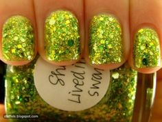 such a cute polish. reminds me of tinkerbell-could use for Halloweento go w/her tink costume