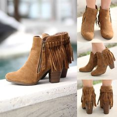 OH MY GOSH!! We are in love with these must have little Tan Fringe Booties! They can easily be dressed up or dressed down! Wear them with our super distressed skinny jeans, leggings or a cute short dress! You can't live without them!  The fringe is just ADORABLE! Check out some other amazing shoes at our online boutique!