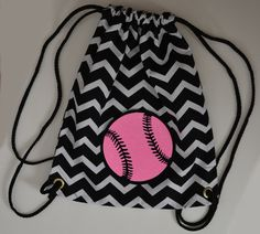 This chevron bag with the glitter printed, hot pink, SOFTBALL stitched to it has been a favorite of our customers. Our original bags are individually handmade in the heart of America. Softball Bags, Softball Mom, Softball Stuff, Volleyball, Pink Out, Hot Pink, Chevron Backpacks, Throw Like A Girl, Softball Pitching Machine