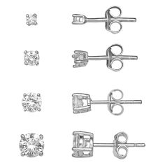 PRIMROSE Sterling Silver Cubic Zirconia Graduated Stud Earring Set Jewelry Sets, Women Jewelry, Sterling Silver Earring Sets, Black Diamond Studs, Post Metal, Kohls, Polished Nickel, Jewelry Collection, Stud Earrings