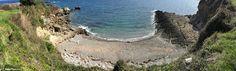 Panoramic view of el Cuerno beach in Antromero, Asturias (Spain) . Together with its sister El Sombrao are known as Las Playinas de Antromero.