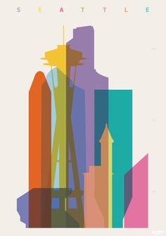 Shapes of Seattle accurate to scale Art Print