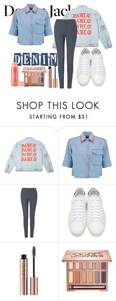 """#jeanjackets"" by jojo299u ❤ liked on Polyvore featuring Être Cécile, Yves Saint Laurent, Urban Decay and jeanjackets"