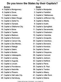 """States Capitals AL MO ??"""" Instant Worksheets"""