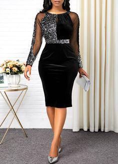 Black Long Sleeve Back Slit Bodycon Dress New Year Eve Party Dress Sequin Dress Sequin Embellished Back Slit Black Dress Panel Dress, Slit Dress, The Dress, Bodycon Dress, Sheath Dress, Latest African Fashion Dresses, Women's Fashion Dresses, Sexy Dresses, Trendy Dresses