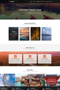 TRAVEL - Tours and Travel PSD TemplateTRAVEL template is exclusively made for tours and travel industry. Travel Tours, Travel Destinations, Travel Website Design, Web Design Software, Popular Photography, India Tour, Photoshop Actions, Photoshop Tutorial, France