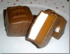 Caramallow Squares! Layers of Homemade Caramel and Marshmallow covered in Milk Chocolate!! Yummy!!