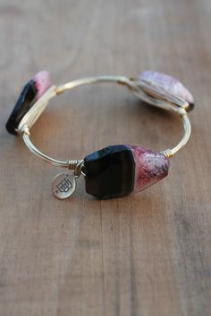 Off the Racks Boutique - Bourbon and Boweties Bangle: Pink and Smoke Faceted Stone, $34.00 (http://www.shopofftheracks.com/bourbon-and-boweties-bangle-pink-and-smoke-faceted-stone/)