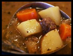 Ingredients: 1 -1 1/2 lb cubed beef stew meat 1/2 cup flour 1 1/2 teaspoons salt 1/2 teaspoon pepper 1/4 cup vegetable oil 1 onion, chopped fine 1 carrot, chopped fine 1/4 cup finely chopped celery, with a few minced leaves 1 tablespoon dried parsley 1 pinch thyme 3 1/2 cups beef broth 2 medium potatoes, diced 2 carrots, diced 2 onions, diced Directions: Put flour, salt and pepper in a large ziploc bag. Heat oil over medium heat in a large dutch oven. Place meat in bag with the flour and…